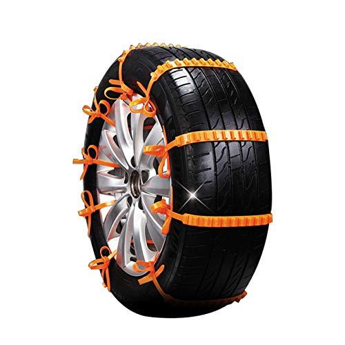 Clacce Anfahrhilfe für PKW, Kabelbinder, zu verwenden wie Schneeketten, rutschfest für mehr Grip, für Notfälle wie Schnee und Regen, 10 Stück (Orange)
