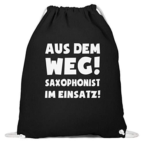 shirt-o-magic Saxophon: Saxophonist im Einsatz! - Baumwoll Gymsac -37cm-46cm-Schwarz