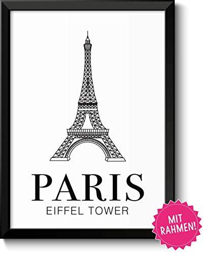 Paris Eiffelturm Bild im schwarzem Holz-Rahmen Geschenk Geschenkidee fürParis Frankreich Liebhaber