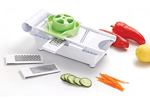 Self Ideas - Mandolina de cocina con 5 cuchillas de acero inoxidable. Picadora manual 6 en 1. Cortador de verduras con recipiente antideslizante. Corta verduras seguro y fácil de usar.