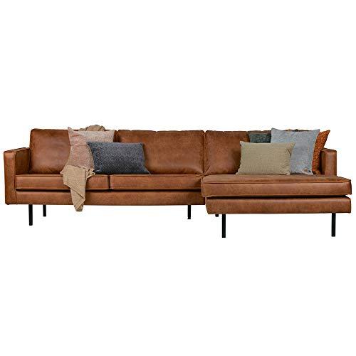 Eckgarnitur Rodeo Leder Cognac Couch Sofa Ecksofa Ledercouch Longchair rechts