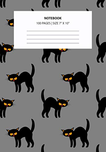 Notebook: Angry Black Cat Yellow Eyes Gray Halloween - Personal Journal/Notebook with Blank Lined Pages - Perfect Diary, Planner, Dream Journal, or Goal-Setting Notebook