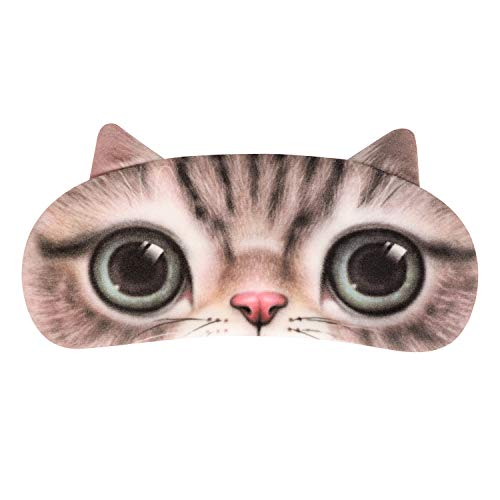 Schlafbrille Katze Schlafmaske Schlafhilfe für Damen Mädchen Herren Junge Augenmaske Weiche Augenabdeckung mit Gummiband Unisex Kein Druck Nachtmaske für Reise Zuhause Flugzeug Camping (Braun Neu)