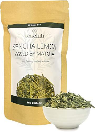 Sencha Lemon Grüner Tee mit Matcha und Zitronengras Lose 100g, Japanischer Grüntee mit natürlichem Koffein, Japanese Green Tea TeaClub