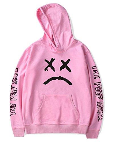 SIMYJOY Unisex Lil Peep Hoodie Emo Rap Coole Pullover Crybaby Spotlight Straßen Fashion Sweatshirt Für Männer Frauen Mädchen und Jugenden, Rosa, M