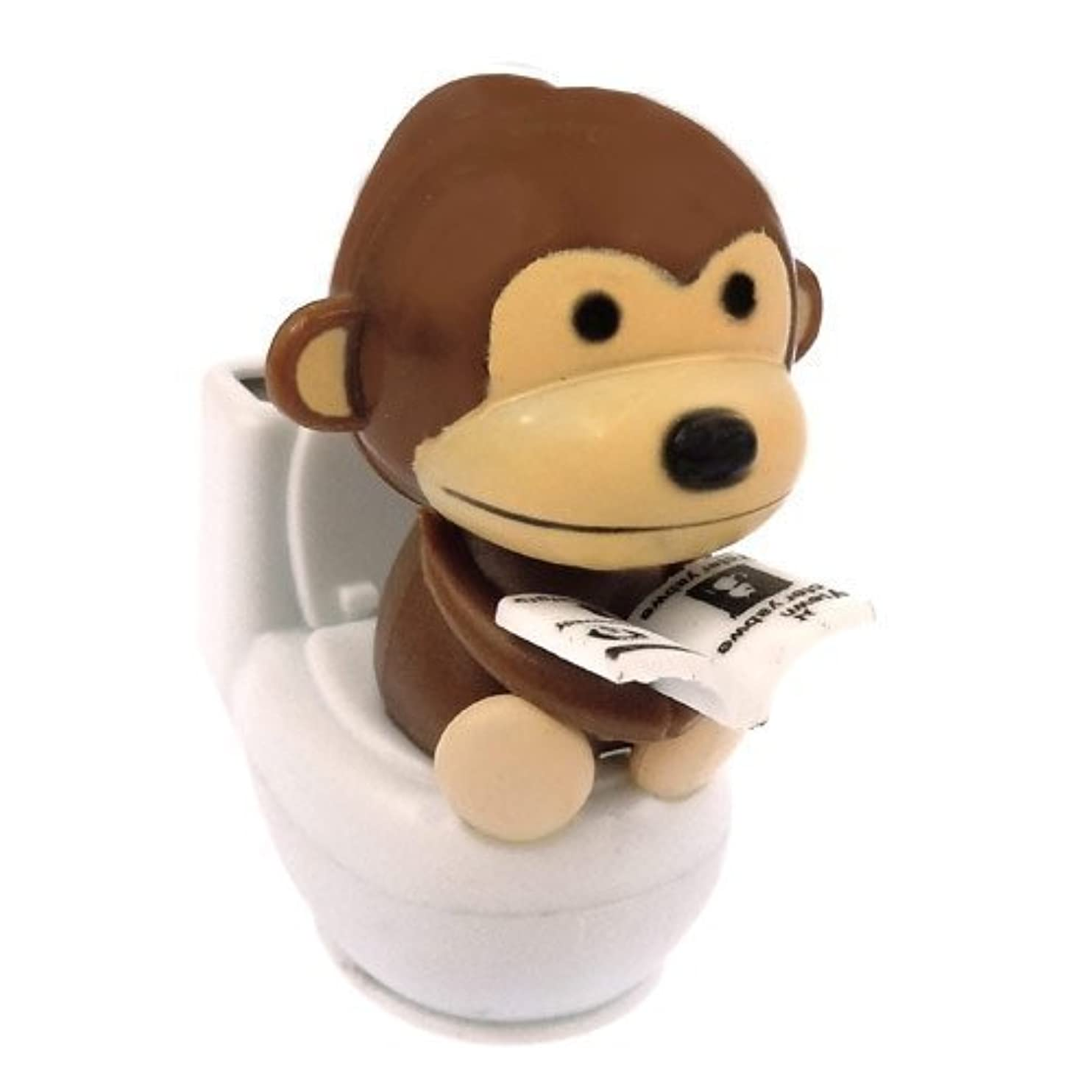 Solar Power Motion Toy - Monkey on Toilet - Brown xulaknmmcau01
