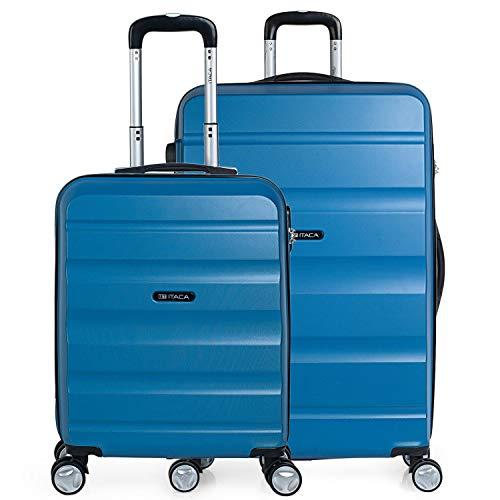 ITACA - Juego de Maletas de Viaje Rígidas 4 Ruedas Dobles Trolley ABS. 2 Tamaños: Pequeña Cabina y Grande XL. Duras Cómodas Reforzadas y Ligeras. Calidad Marca y Garantía. T71617, Color Azul