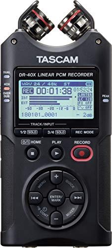 Gravador de Áudio Digital Tascam DR-40X de Quatro Trilhas com Interface de Áudio USB