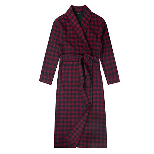 Noble Mount Mens Robe - 100% Cotton Flannel Robe Long - Checks - Black-Fig - Large/X-Large