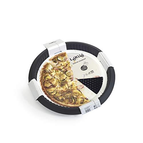 Lekue 1211329N01M033 Perforée Crunchy Moule à Quiche Noir 28 x 28 x 3,2 cm