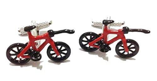 Onyx-Art London CK870 Boutons de manchette en forme de vélo de triathlon avec coffret cadeau