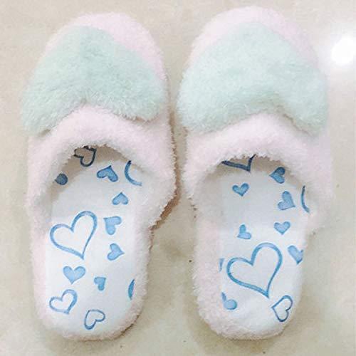 Qsy shoe Pantoufles de Coton Automne et Hiver Chaleur Fond épais Sac de Dames de Tissu à la Maison avec l'amour, Bleu, 36-37