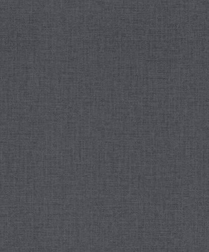 rasch Tapete 402483 aus der Kollektion Uptown – Einfarbige Vliestapete in mattem Anthrazit – 10,05m x 53cm (L x B)