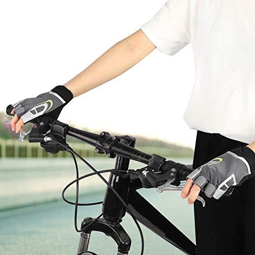 Velaurs Guantes de Medio Dedo, Guantes de Ciclismo, paño Unisex Suave Antideslizante Transpirable para Mancuernas de Ciclismo(M)