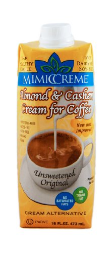 MimicCreme Almond & Cashew Cream for Coffee - Unsweetened, 16-Ounce Aseptic Boxes (Pack of 6)