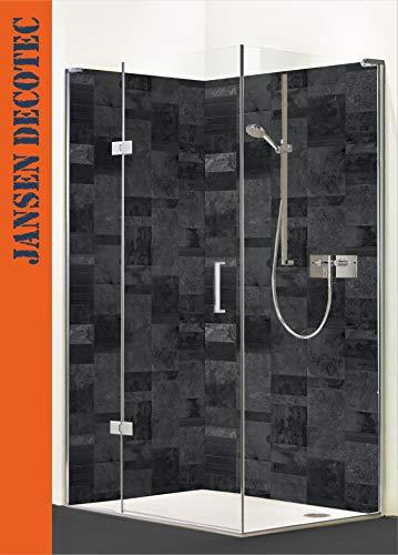 Eck - Duschrückwand, 2 Segmente je 90x200cm, Motiv: Schiefer Naturstein - KOSTENLOSER Zuschnitt auf Ihr Wunschformat !
