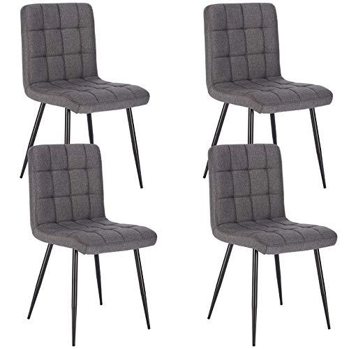 Lestarain 4X Sillas de Comedor Silla de Salón Dining Chairs Tapizadas Sillas de Cocina Nórdicas Asiento de Lino Silla Bar Metal Silla de Oficina Gris Oscuro