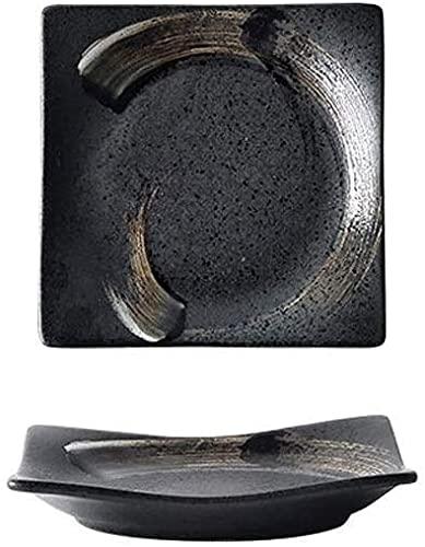 GAOXQ Placa de Sushi de cerámica Japonesa Restaurante Retro Placa de cerámica Postre Ensalada Tazón Microondas Vajilla S