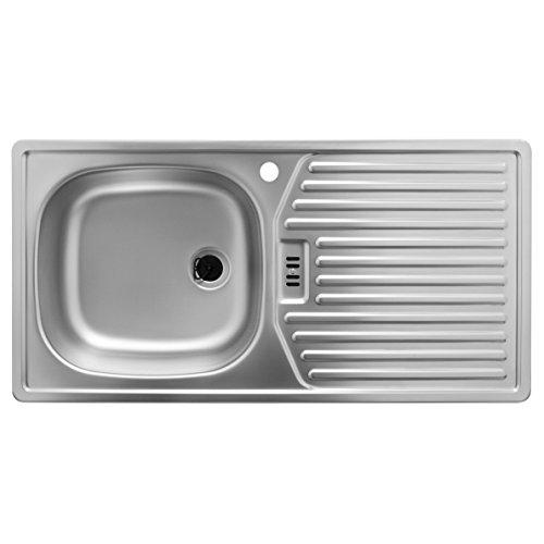 Rieber Spüle mit Hahnloch (Becken Links) / Küchenspüle Edelstahlspüle E 86 K-L