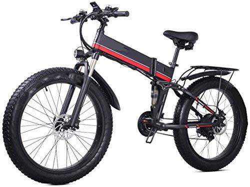 Bici electrica, 26 en Las Bicicletas Plegables eléctricos 1000W 48V / 12.8Ah Bicicleta de montaña, Motos de Nieve Pantalla LED Faros de Ciclo al Aire Trabajar el Cuerpo Viaje (Color : Red)