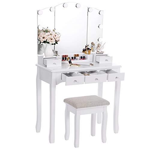 ANWBROAD Tocador con espejo plegable y 10 bombillas LED mesa con 5 cajones 2 separadores para manualidades taburete acolchado organizador móvil blanco BDT05W