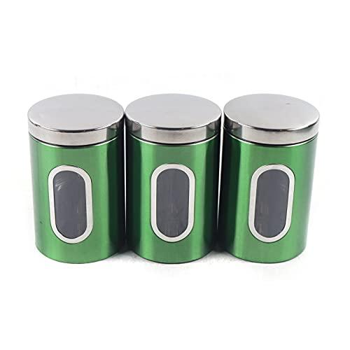 SHZICMY 3 tarros cilíndricos de acero inoxidable, 11 x 16,5 cm, para cereales, alimentos secos, caja de almacenamiento, color verde