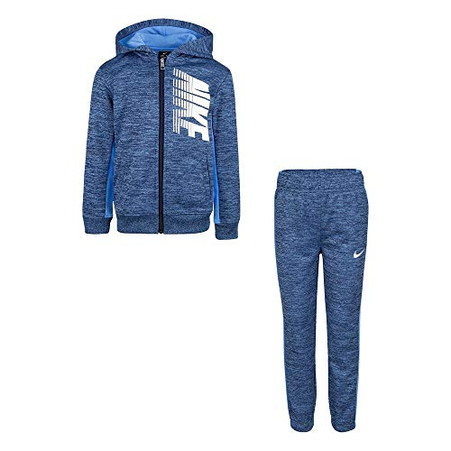 Nike Boy`s Therma Fleece Full Zip Hoodie & Jogger Pants 2 Piece Set (Midnight Navy Heather(86F417-U99), 2T)