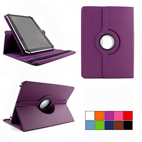 COOVY® 360° Rotation Cover Universal für alle 9/10 / 10.1 Zoll Tablet Modelle Hülle Tasche Etui Case Schutz Ständer | Farbe lila