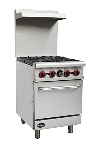 """Heavy Duty Commercial 24"""" Gas 4 Burner Range with Oven"""