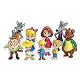 VANVENE Goldie and Bear Figures Toys 9 Pcs Set Action Goldilocks Little Red Riding Hood 5cm - 9cm