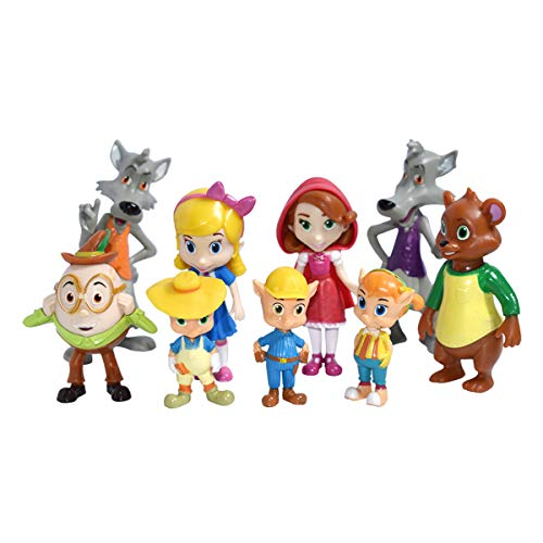 VANVENE Goldie and Bear Figures Toys 9 Pcs Set Action Goldilocks Little Red Riding Hood 5cm - 9cm