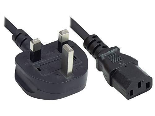 Kabelmeister - Cable de alimentación (5 m, Enchufe británico Tipo G (BS 1363) a C13 (Recto), Fusible de 10 A, Certificado ASTA, 0,75 mm²), Color Negro