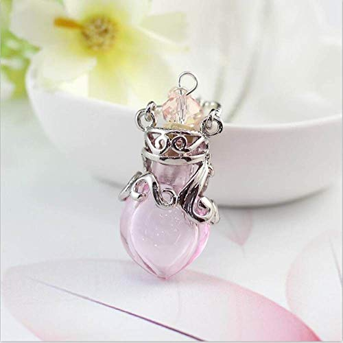 YOUHU Ashes Necklace,Women Memorial Heart Shape Urn Pendant For Ashes Pink Bottle Silver Anchor Chain Keepsake Locket For Thanksgiving