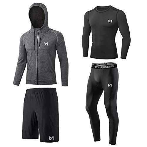 MEETYOO Tee Shirt Compression Homme, Legging Sport Short Fitness T Shirt Manche Longue Veste Collant Gym Running Vetement pour Jogging Musculation,L,Noir
