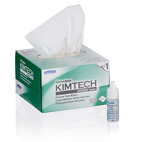 AmScope MLB-Kim Microscope Maintenance Kit - Medium Viscosity Immersion Oil and Kimwipes Wipers