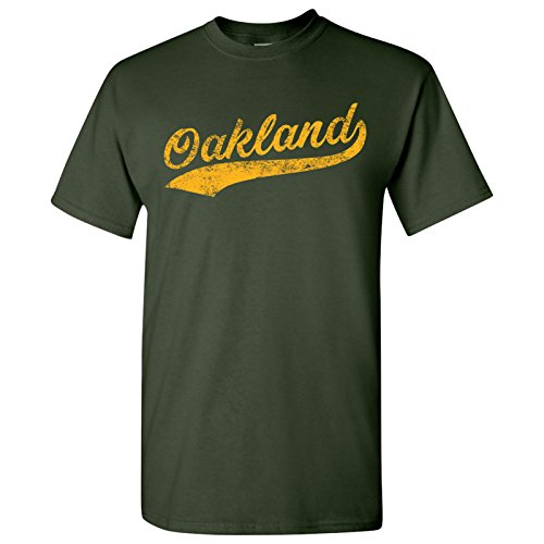UGP Campus Apparel Oakland City Baseball Script Basic Cotton T-Shirt - Large - Forest