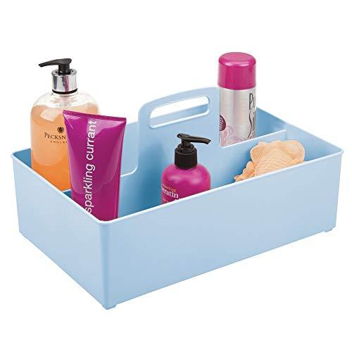 mDesign Caja organizadora con 2 compartimentos – Organizador de accesorios de bebé portátil para biberones, chupetes y demás – Cesta para pañales de plástico sin BPA – azul claro