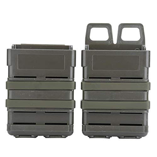 Tbest Fast Mag Pouch, ABS Magazine Pouch Set Molle Strike System Newspaper Bag fit For 5.56 Mags(Army Green)