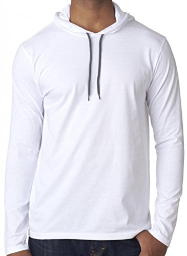 Yoga Clothing For You Mens Lightweight Hoodie Tee Shirt, Large White