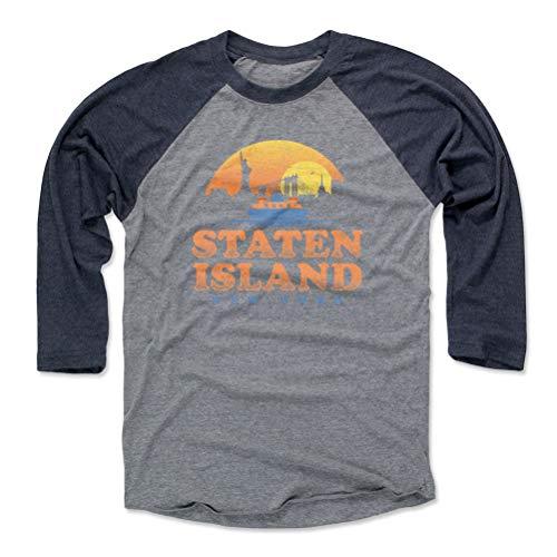 Staten Island Tee Shirt (Baseball Tee, Large, Navy/Heather Gray) - Staten Island New York Retro WHT
