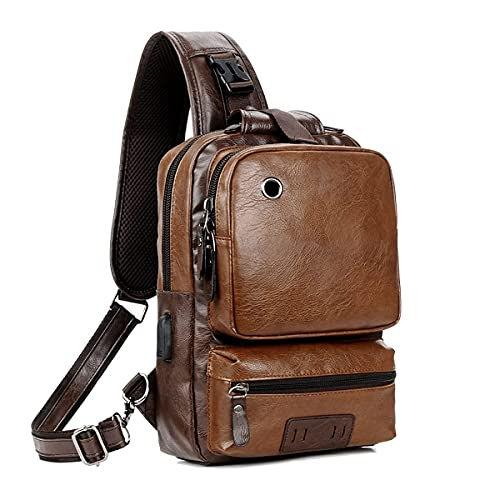 Small Black Sling Crossbody Backpack Shoulder Bag for Men Women Vintage PU Leather CrossBody One Strap Casual Sling Backpack Cycling USB Charger
