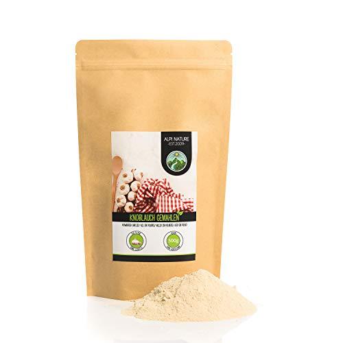 Ajos en polvo (500g), ajo molido, especia 100% natural de ajo suavemente secado, ajo en polvo naturalmente sin aditivos, vegano