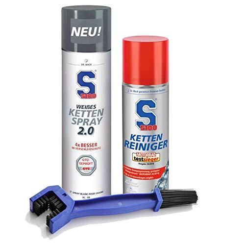 Dr. Wack S100 Kettenreiniger 300 ml + Weißes Kettenspray 2.0 400 ml + baytronic Reinigungsbürste