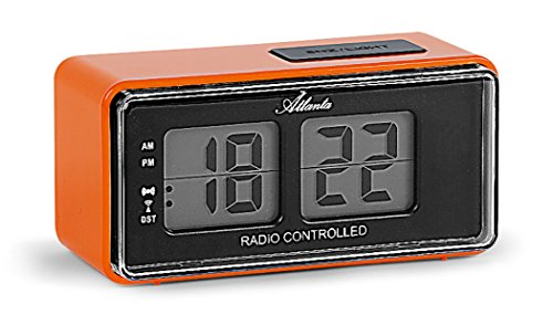 Atlanta Digitalwecker LCD Funkwecker Snooze Licht Retro Design Orange Lautlos Ohne Ticken - 1881-12