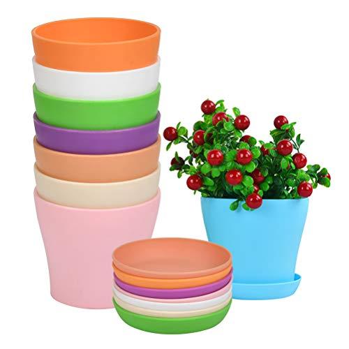 WOWOSS 8 Piezas Macetas de Plástico de Colores 14 cm, Macetas de Plantas de Interior y de Exterior con Palet para Oficina u Hogar