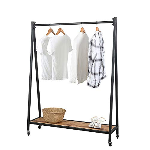 Retro Iron Clothing Racks with Wood Shelves 59inRetail Rolling Display Rack with WheelsCommercial Standing Clothes Racks for Hanging ClothesMetal Heavy Duty Wooden Garment RackBlack