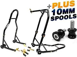 Venom Motorcycle Front Triple Tree & Rear Swingarm Spool Lift Combo Wheel Lift Stands + Low Profile 10mm Black Swingarm Spools (Fits Most Kawasaki Bikes)