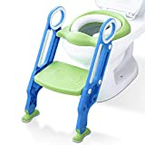 KingSo Toddler Potty Training Seat with Adjustable Non-Slip Step Stool Ladder and Handles Floor Padded Sturdy Baby Kid Children Toilet Training Seat for Boys and Girls…