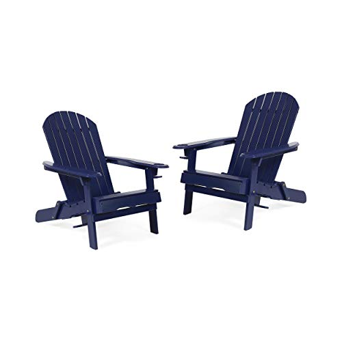 Christopher Knight Home 312852 Celeste Outdoor Acacia Wood Folding Adirondack Chairs (Set of 2), Navy Blue