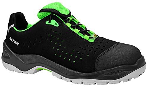 ELTEN Sicherheitsschuhe IMPULSE green Low ESD S1P, Herren, sportlich, leicht, schwarz/grün, Kunststoffkappe - Größe 36